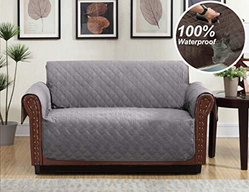 Home Queen Premium Waterproof Couch Slipcover, Non-Slip Sofa Protector with Pocket and Elastic Straps, Furniture Cover for Dogs, Kids, Pet, Loveseat Cover 76'' L x 88'' W, Grey