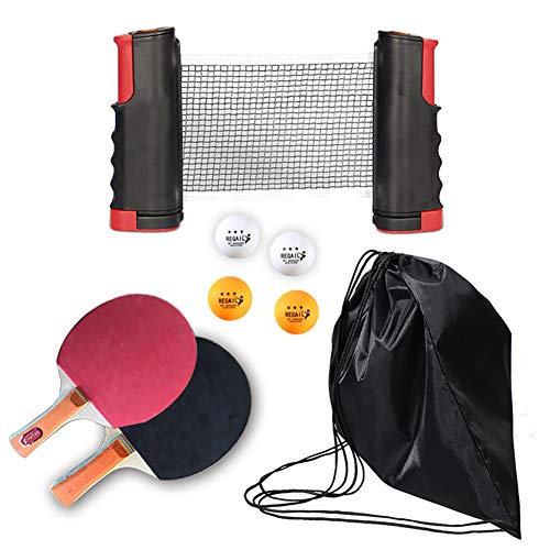 Set De Tenis De Mesa 8 Piezas Juego Completo De Ping Pong Con Palas De Red, Paletas y Bolsa De Transporte Kit Compacto De Fácil Instalación Ajuste De Mesa De Cualquier Tamaño Para Viajar a Casa