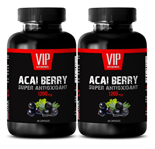 Acai Berry Detox Belly Buster - ACAI Berry Super ANTIOXIDANT Extract 1200 MG - Energy Booster- 2 Bottles 120 Capsules