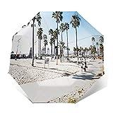 Paraguas Plegable Automático Impermeable California Venice Beach Los, Paraguas De Viaje Compacto a Prueba De Viento, Folding Umbrella, Dosel Reforzado, Mango Ergonómico