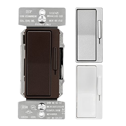 EATON DAL06P-C6-K-L Decorator Dimmer, 120 Vac, 300 W, 60 Hz, 1 Poles, 3 Ways, Back and Side Wired Terminal, Multi