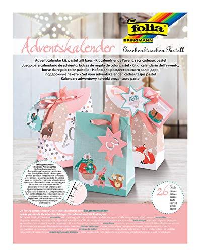 folia 9381 - Adventskalender Bastelset Geschenktaschen Pastell, mit 24 vorgestanzten Geschenktüten in verschiedenen Designs, Geschenkanhängern, Satinband und Stickerbogen