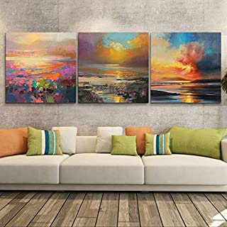 Prints on Canvas FYSKJDG 3 Panels Wall Painting Sunset Lake Abstract Canvas Modern Home Room Wall Decor Art Print Picture(...
