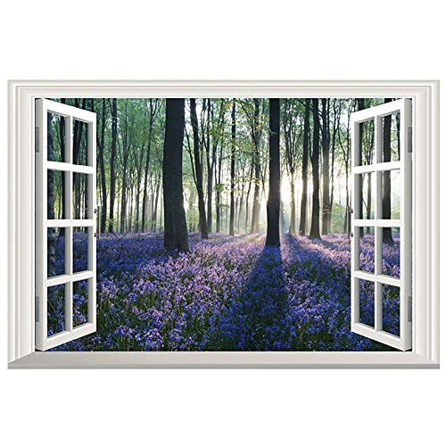 DNVEN 24 inches x 16 inches 3D Full Color High Definition Lavender Trees in Forests Nature Forests Scenery False Faux Window Frame Window Mural Vinyl Bedroom Living Room Playroom Wall Decals Stickers
