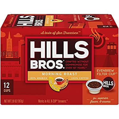 Hills Bros Single Serve Coffee Pods,Morning Roast, Light Roast Coffee, 12 Count–Keurig Compatible, Roasted 100% Premium Arabica Coffee Beans, Smooth Balanced Flavor