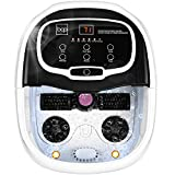 Best Choice Products Portable Motorized Automatic Heated Shiatsu Foot Bath Massage Spa w/Pumice Stone, Medicine Box, Rollers, Adjustable Heat, Water Jets, Waterfall, Acupuncture Points, Drain - Black