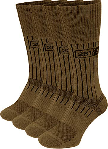 281Z Military Boot Socks - Tactical Trekking Hiking - Outdoor Athletic Sport (Coyote Brown)(Small 4 Pairs Pack)