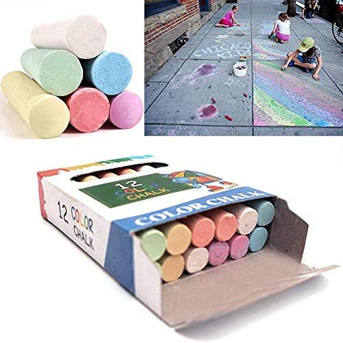 12PCS Jumbo Bright Coloured Sidewalk Kreide, Kinder waschbar Pflaster Mixed Chalk Fun Kunstspiel für Home Board Kreide, Gartenschule Zeichenspiele Indoor Outdoor Künstler Imagination