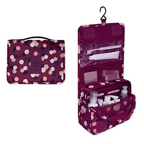Toiletry Bags Waterproof Travel Kit Organization Bathroom Storage Cosmetic Wash Bag Carry Case with Hanging Hook for Travel/ Sport/ Trip/ Camping (Vino rosso)