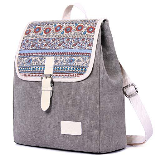 ArcEnCiel Backpack for Women Girls Canvas Student Shoulder Rucksack College Travel Bookbag (Gray)