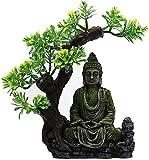 MZD Tanque de Pescado, Tanque de Peces Feng Shui Paisajismo Zen Antiguo Buda Estatua Serie de Acuario de Resina Decoración Rockery Piedra Estatua Bajo el Árbol de Tierno