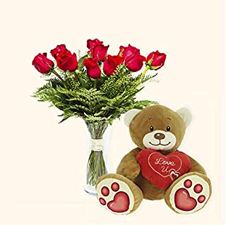 Pack Ramo de 12 rosas + Osito de Peluche Corazón - París - Ramo de flores naturales y Osito de peluche a domicilio - Envío...