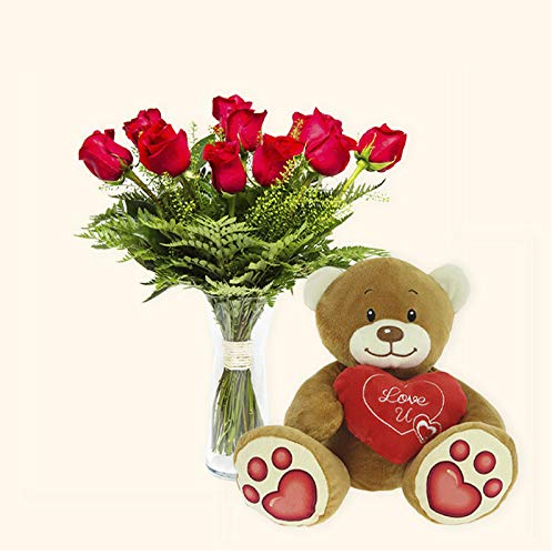 Pack Ramo de 12 rosas + Osito de Peluche Corazón - París - Ramo de flores naturales y Osito de peluche a domicilio - Envío a domicilio 24h GRATIS - Tarjeta dedicatoria de regalo