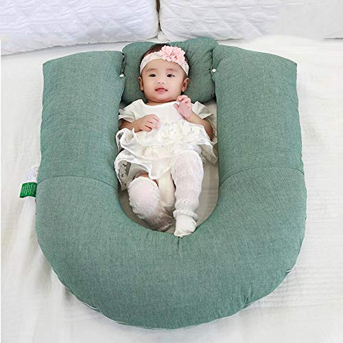 ZIXIANG Lits-Cages Bébé Lounger Portable Super Doux Et Lit Bébé Amovible Lit Bionique Nouveau-né Snuggle Lit pour Bébé Maman Lits bébé Berceaux (Color : Green)