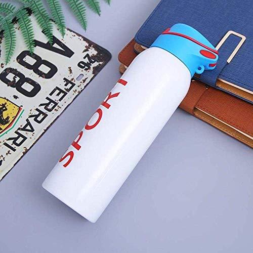 Wzmdd 500ml Draagbare Dubbele Muur Geïsoleerde Vacuüm Flask Roestvrij Staal Waterfles Thermos met Rietbom Cover voor Sport Fietsen