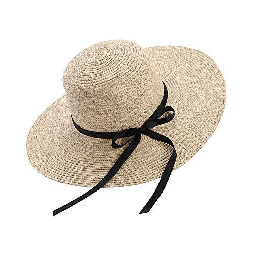 Cappello da Sole da Donna Floppy Foldable Bowknot Grande Cappello a Tesa Larga Cappello Estivo da Spiaggia Protezione UV UPF50