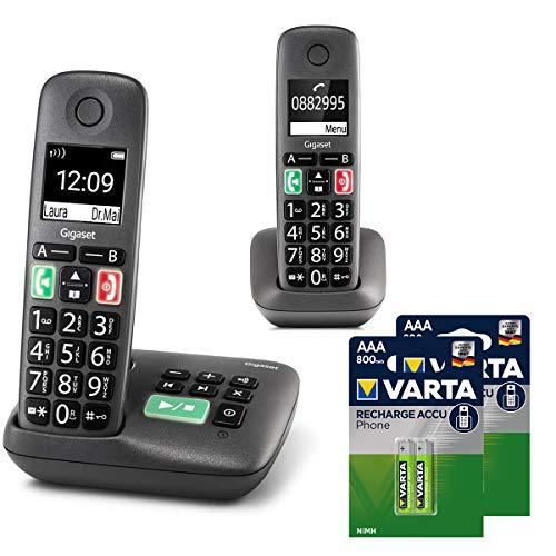 Gigaset Easy Duo mit Anrufbeantworter – 2 Schnurlose Senioren-Telefone mit großen Tasten und extra lauter Klingelfunktion inkl. DECT Phone AAA Akku – hörgerätekompatibel, anthrazit-grau