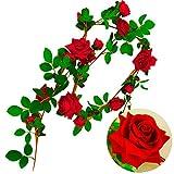 YUYATO イミテーションローズ 枯れない薔薇 ツタ 造花 人工 装飾 インテリア 華やか デコレーション DIY ベランダ (レッド)