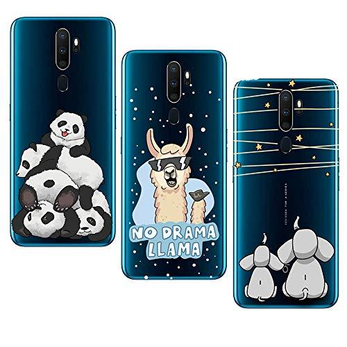 JMTALL 3X para Oppo A9 2020 / A5 2020 - Carcasa de silicona transparente para Oppo A9 2020 / A5 2020 - Panda Star Elephant Alpaca