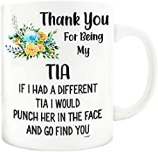 Tia Mug - Funny Coffee Gifts Tea Cup Dear Spanish Aunt Aunty Auntie BAE Titi Tia Best Christmas Birthday Mothers Day Love Women - If I had Different Punch in the Face Go Find You Flowers Miao M3P0001