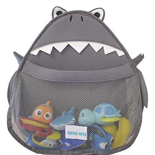 Ana Wiz - Organizer per il bagno, per giocattoli, vari disegni, squalo grigio, 150 g