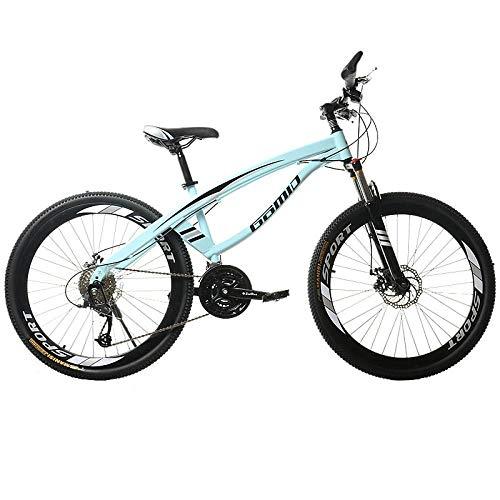 DGAGD Bicicleta de montaña de 24 Pulgadas, luz de Velocidad Variable, 40 Ruedas de Cuchillo, Bicicleta-Azul Claro_30 velocidades