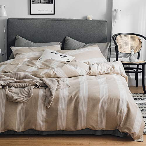 OREISE Duvet Cover Set King Size Tan and White Printed Vertical Stripe Pattern 100% Cotton Bedding Set (1 Duvet Cover + 2 Pillow Shams) with Zipper Closure Soft Breathable Durable