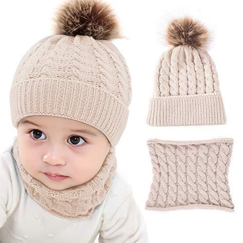 2 Stück Kinder Kleinkind Baby Strickmütze Mützen Schal Schal Schal Winter Warm Ski Mütze Gr. Einheitsgröße, kaki