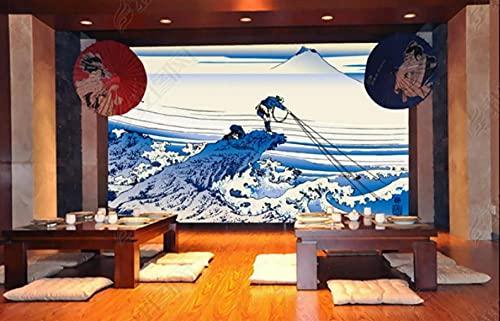 Paneles decorativos pared Papel pintado de fondo con decoración de restaurante japonés Monte Fuji Laminas decorativas pared -350cmx245cm