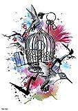 Flor De Pájaro Jaula De Pájaro Brazo De Flor 15X21cm-10Pcs Tatuajes Temporales Pegatina Impermeable Arte Adhesivo Conjunto De Cubierta Para Hombres Adultos Mujeres Niños Impermeables Extraíbles No T