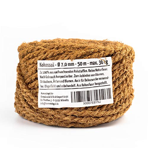 Humusziegel - Kokosseil 7 mm x 50 m – ungefärbte Naturfaser – Verwendbar als Sisal Seil für Kratzbaum, Baumanbinder, Paketschnur, Pflanzenband & als Deko