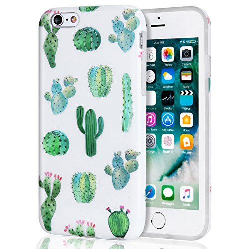 iPhone 6 Case, iPhone 6s Case for Girls, White Green Cactus Women Best Protective Cute Clear Slim Fit Heavy Duty Shockproof Glossy TPU Soft Rubber Silicone Cover Phone Case for iPhone 6s / iPhone 6