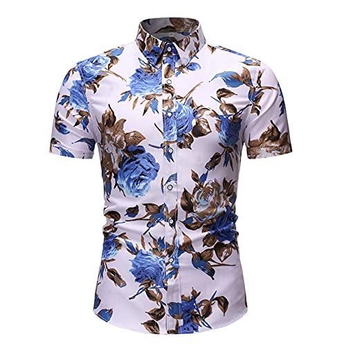 Camisa Playa Hombre Verano Ajustada Botones Tapeta Manga Corta Hombre Camisa Vintage Básico Cuello Kent Estampado Tendencia Hombre Camisa Ocio Negocios Hombre Camisa Funcional DC24 XL