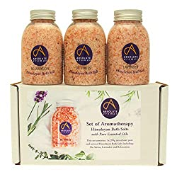 GIFT - This set of Himalayan bath salts infused with Absolute Aromas essential oil blends makes an idyllic present or stocking filler for those who adore the ritual of a long relaxing soak in the bath. SET - Includes 3 x 290g jars of Relaxation, Lave...