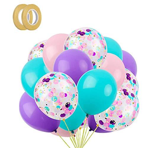 Latex Luftballons, 40 Stück Luftballon Blau, Lila, Rosa und Konfetti Party Luftballons Perfekt für Geburtstagsfeier Hochzeit Party und Kinder Dusche Party,Festival Dekoration