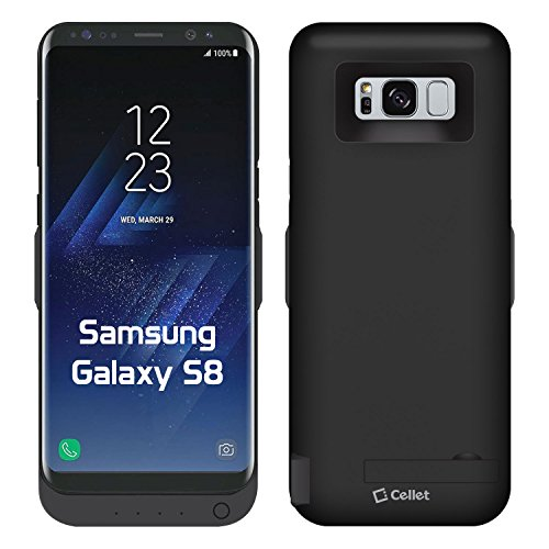 Cellet 3600mAh Rechargeable External Battery Case with Kickstand for Samsung Galaxy S8 with Dual Charge Compatibility USB Port to Charge a Second Device - Black (NOT for Galaxy S8 Plus)