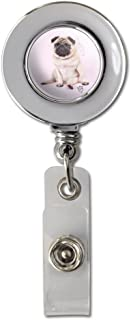 Pug Puppy Dog with Angel Wings Pink Retractable Reel Chrome Badge ID Card Holder Clip