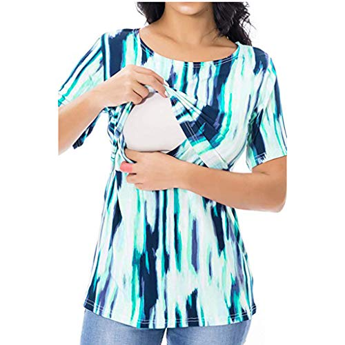 Women's Nursing Tops Short Sleeve Breastfeeding Clothes Green