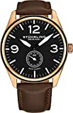Stuhrling Original Men's 931.03 Aviator Rose Gold-Tone Stainless Steel Watch with Brown Leather Band