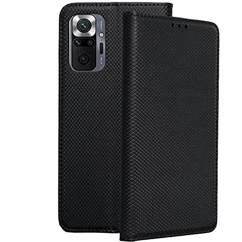Compatible con Xiaomi Redmi Note 10 Pro (6,67 Pulgadas) Funda de Tapa Tipo Libro con Solapa Tarjetero y posición para Visualizar Videos (Negro)