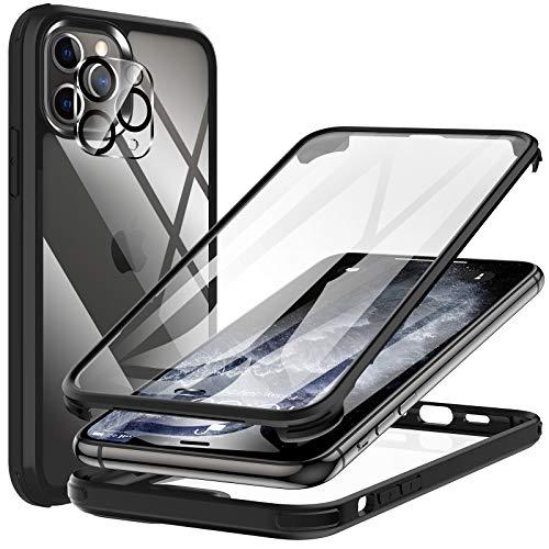KKM Kompatibel mit iPhone 11 Pro Hülle Eingebaute Displayschutzfolie, [Militärqualität] 360 Grad Anti Drop Stoßfeste Telefonhülle, [Glasscheibe] Voller Schutz Schutzhülle, Schwarz 5,8 Zoll