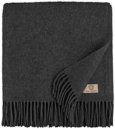 Warme Wohndecke 100 /% Wolle Wolldecke Tagesdecke Decke 150 x 205 cm Dunkelrot