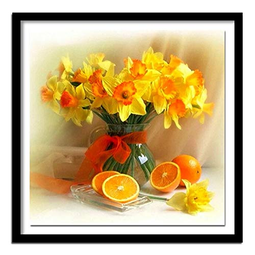 Flowers Diamond Painting Kits,Orange Cross Stitch Kits Arts Home Decor Craft,Paintings Living Room Bedroom Wall Decor Painting