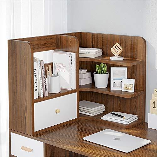 Holz Klein Tisch Regal Zähler nach oben Bücherregal mit Schubladen Desktop-Bücherregal Schreibtisch-Speicher-Organisator-Anzeigen-Regal-Zahnstange for Bürobedarf Küche Badezimmer Make-up Für Bürobedar