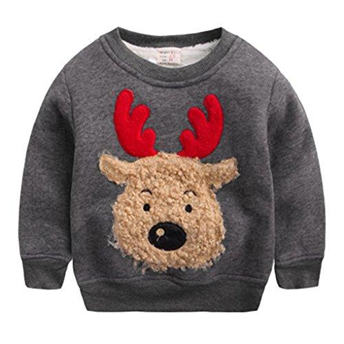 Happy Cherry Jungen Pullover Kids Warme Sweatshirt Streetwear Oberbekleidung, Jungen,für Körpergröße 90-130cm (Grau, Empfehlende Körpergröße: 95-100cm)