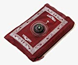 Hitopin Portable Waterproof Prayer Mat Light and Muslim Prayer Rug with Compass Muslim Prayer Rug Qibla finder and Booklet Red Color
