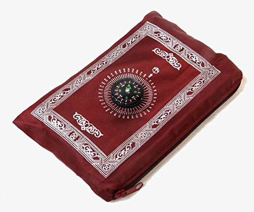 Hitopin Tapis de prière Islamique de Voyage avec Boussole et Sac de Transport, en Polyester étanche 60 x 100 cm, Red Color