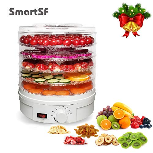 Food Dehydrator Machine,Jerky/Meat/Fruit/Dog Treats/Vegetable & Herb Electric Food Preserver,Fruit Dryer Dehydrated,Jerky Machine,Portable Countertop Adjustable Thermostat,5 BPA-Free Tray,White