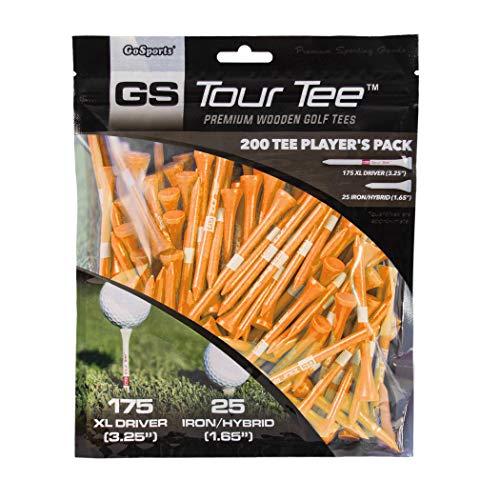 GoSports Tour Tee Premium Wooden Golf Tees | 200 XL Tee Player's Pack Driver and Iron/Hybrid Tees, Orange (GOLF-TEES-W-DXL-01-ORANGE)