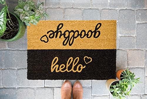 OOTB Zerbino ingresso casa Hello/Goodbye in cocco | Zerbino ingresso esterno | Zerbino casa antiscivolo | Dimensioni 60x40x1,5cm